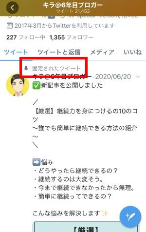 Twitterツイートの固定:固定ツイートの例