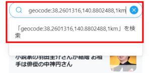 Twitter検索機能:検索方法_geocode検索_コマンド入力