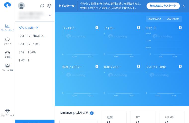 SocialDogの機能・使い方_SocialDogの登録方法_ダッシュボード