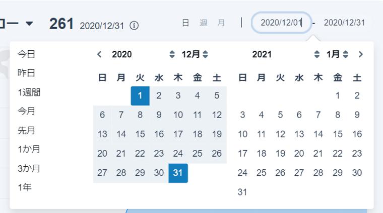 SocialDogの分析機能_レポート_期間の設定_カレンダー表示
